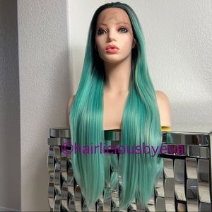 Pastel light green wig straight ombré lace frontal